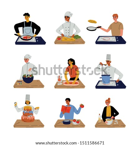 Different People Cooking in the Kitchen Set, Professional Chefs Characters Wearing Traditional White Uniform Working in Restaurant or Cafe, Young Men and Women Cooking at Home Vector Illustration