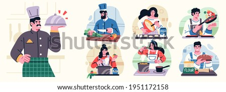 Different People Cooking in the Kitchen Set, Professional Chefs Characters. Young Men and Women Cooking. Vector illustration