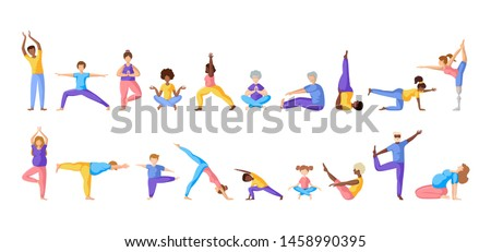 Different people doing yoga, adults, children, elderly men and women doing sport exercises. African Americans and Europeans - large group of persons. Isolated elements on white background, vector set