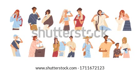 Different people drinking water from a glass, bottle, fountain, cooler, tap, filter. Man and woman quenching thirst isolated on white background. Vector illustration in flat cartoon style