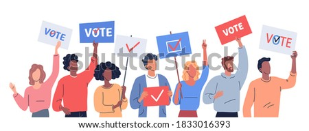 Different people hold placards calling to vote. Political election illustration