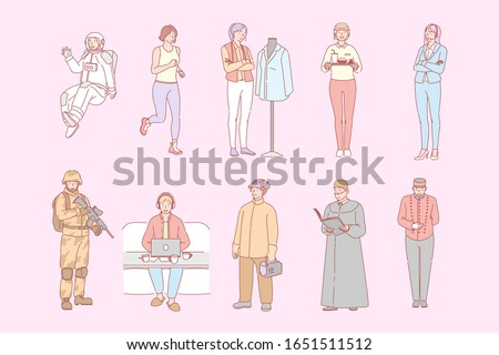 Different people occupations, set concept. People boys and girls occupated in different jobs or work. Collection of astronaut, athlete, bell boy, cashier, welder, military, priest, clothier. Labor day
