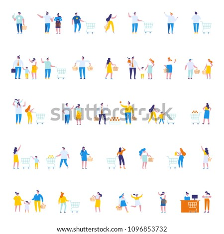 stock-vector-different-people-shopping-at-mall-or-supermarket-flat-vector-illustration