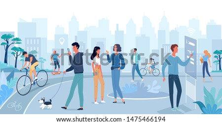 Different people walking on the smart city street. Vector flat illustration