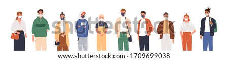 Different people wearing face masks isolated on white background. Man and women in respirators. Protection from coronavirus outbreak, pandemic prevention. Vector illustration in flat cartoon style