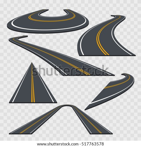 Different Perspective Curved Road Set on a Transparent Background. Vector illustration of Asphalt highway icons or way. Six different perspective sign for game design and isometric model.