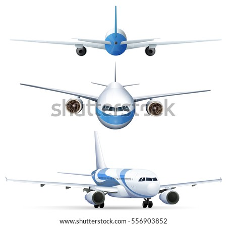 Different perspectives of flying airplanes illustration