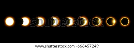 Shutterstock Different phases of solar and lunar eclipse . Vector .