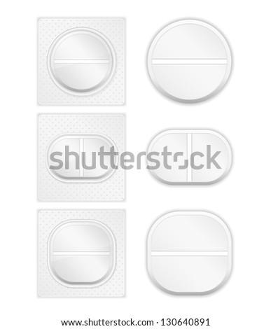 Different pills on white background, vector eps10 illustration