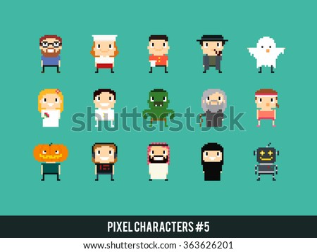 different pixel art characters