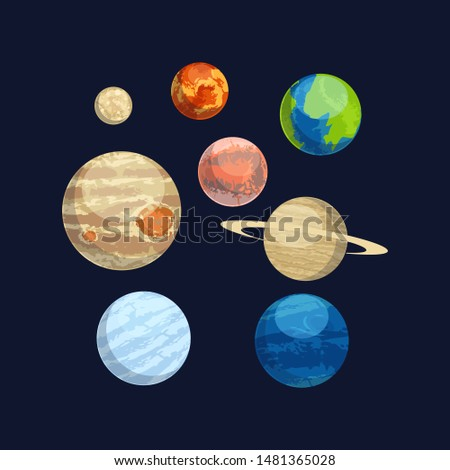 Different planets collection - vector