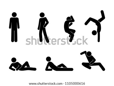 different poses and movements, stick figure man icon, silhouette human, gymnastics exercises and dance, vector isolated pictograms set, people stand, lie
