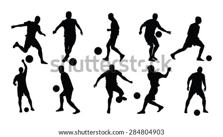 different poses of soccer