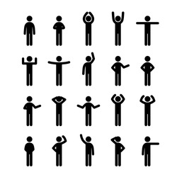 Different poses stick figure people pictogram icon set.  Human symbol sign. Infographics people set.