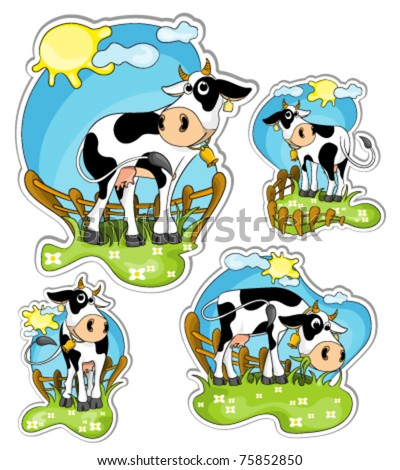 different positions of little black and white cow in grassland : vector stickers