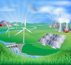 Different power generation ways, nuclear, fossil fuel or coal, and renewable energy or sustainable energy sources eg wind power or wind turbines, photovoltaic cells or solar panels, and hydro electric