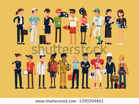 Different profession characters in flat design bundle. Men and women of different careers and jobs line-up. Group portrait of specialists and professionals