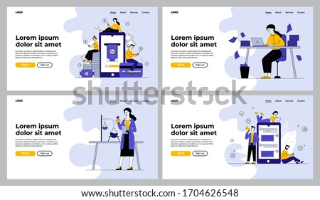 Different professionals set. Chemist conducting experiment, office worker throwing papers. Flat vector illustrations. Finance, communication, job concept for banner, website design or landing web page