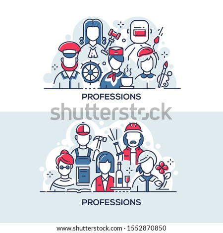 Different professions vector banner templates set. Working men and women, workers in uniforms thin line illustrations. Various occupations, labor union concept. Artist, stewardess, florist and water