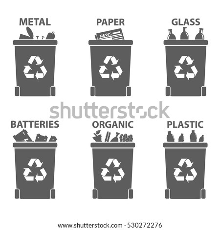 Different recycle waste bins vector illustration, Waste types segregation recycling. Organic, batteries, metal plastic, paper, glass waste.