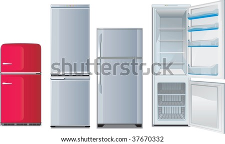 different refrigerators. retro and new, open and closed