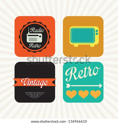 Different retro icons on vintage background