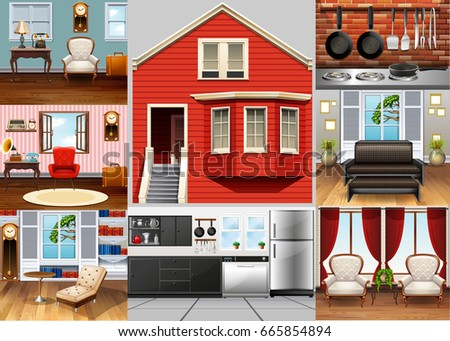 Different rooms in the house illustration