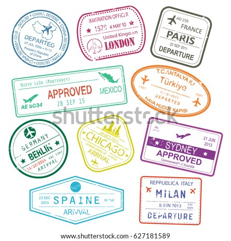 Different rubber stamps or visa signs in passport for Germany Berlin town or city, china or PRC, Spain and Milan, USA and turkey, france. Tourism and foreign travel, international immigration theme
