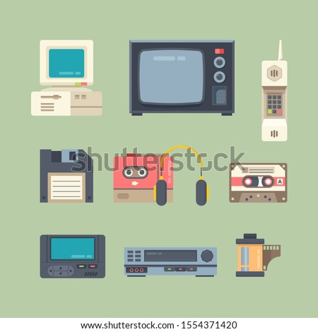 Different 90s gadgets flat vector illustrations set. Retro technics isolated cliparts color pack on green background. Tv, computer, cellular telephone. Vintage electronics design elements collection