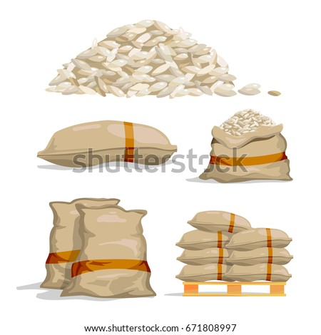 Shutterstock Different sacks of white rice. Food storage vector illustrations