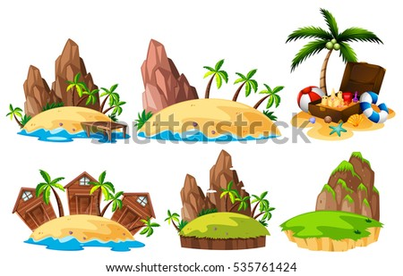 Different scenes of islands illustration