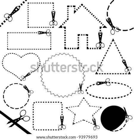 Different scissors cutting line
