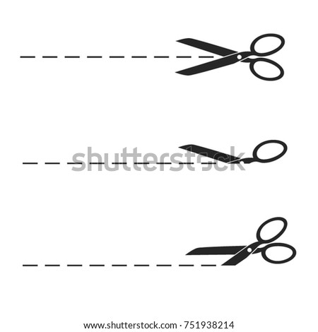 Different Scrissors With Lines - Vector Icons