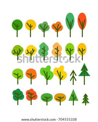 Different season tree silhouettes clip-art. Design elements