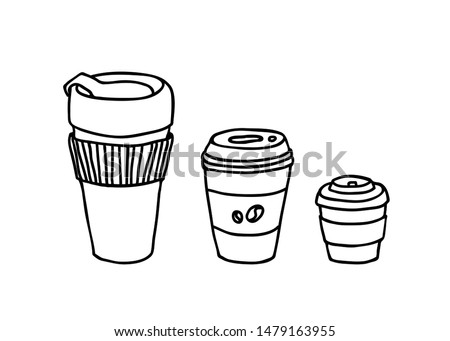 Different serving size coffee cups vector elements. Hot drink tumblr vector illustration. Take away paper cup drinks, black and white doodle.