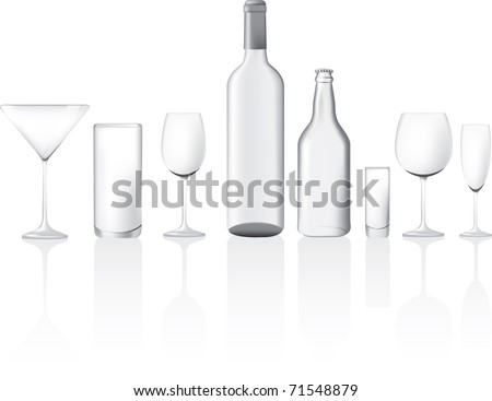 different shape and sizes of empty glasses and bottles, vector illustration