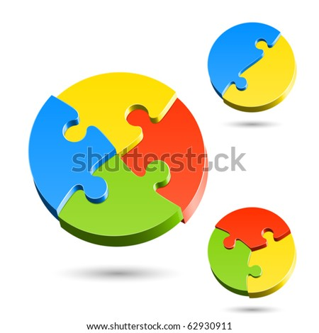 Different shapes of jigsaw puzzle. Vector.