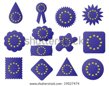 different shapes of label with eu flag on it