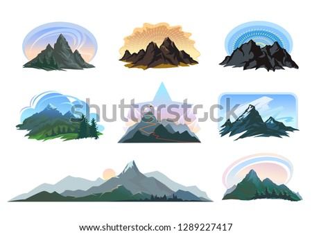 Different shapes of mountains with landscapes of vibrant color schemes