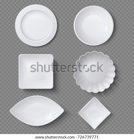Different shapes of realistic food plates, dishes and bowls vector set. Plate dish for restaurant, empty utensil and dishware illustration