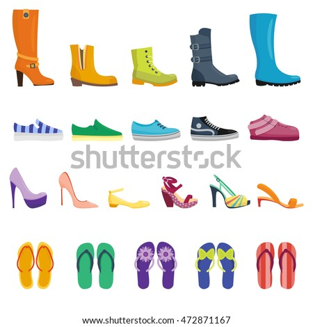 Different shoes isolated collection of various types footwear vector illustration. Different fashion shoe boots models for shop site.