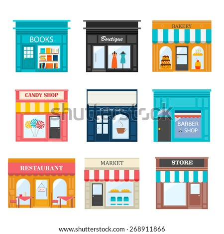 Different shops and stores icons set. Includes books store, boutique, bakery, candy shop, coffee shop, restaurant, barber shop, market