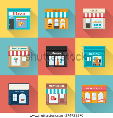 Different shops and stores icons set with long shadow. Includes ice-cream, coffee, meat, books store, pizzeria, boutique, bakery, restaurant, market