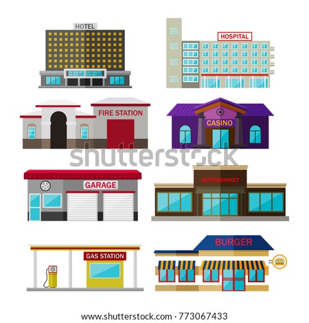 Different shops, buildings and stores flat icon set isolated on white. Includes hotel, hospital, fire station, casino, garage, supermarket, gas station, burger