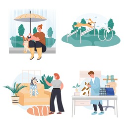 Different situations in life of pets concept scenes set. Owner takes photo, dog sits under umbrella, visit vet clinic. Collection of people activities. Vector illustration of characters in flat design