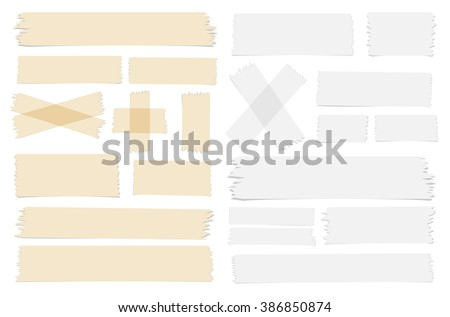 Different size sticky, adhesive tape pieces on transparent background