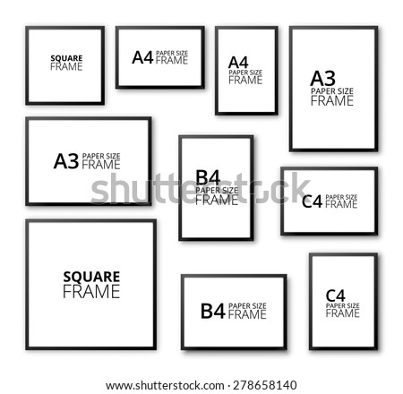 Different Sizes And A4 B4 C4 Proportion Blank Frames On