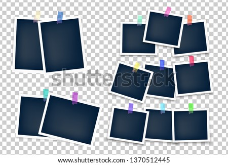 Different sizes photo frames mockup glued with color tape . Realistic empty templates.