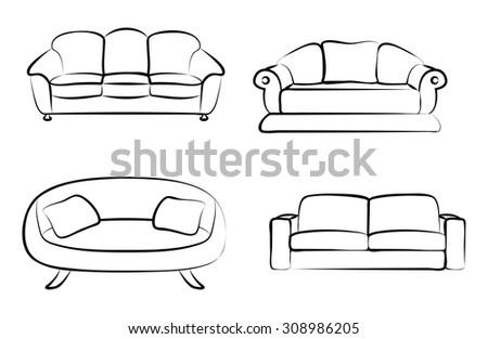 different sketches of sofas stock vector illustration 308986205 shutterstock. Black Bedroom Furniture Sets. Home Design Ideas