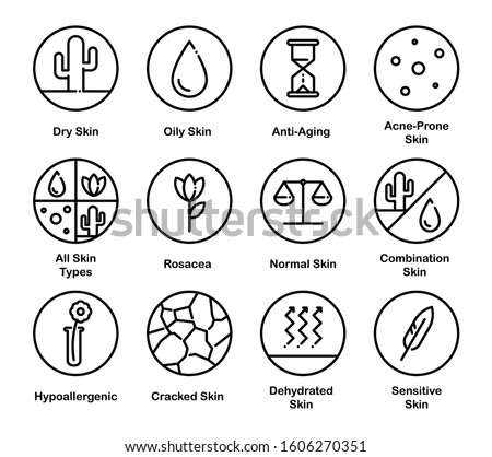 Different Skin Types. Cosmetic Vector Icon Set.  Foto stock ©
